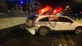 Fatsa'daki trafik kazası güvenlik kamerasında