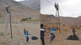 Avcıların tahrip ettiği kablolar onarılıyor