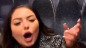 Sarhoş kadın, erkek yolculara tokat atıp taciz etti.