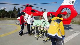 Sopa ile domuz kovalarken vuruldu, helikopterle hastaneye yetiştirildi