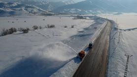 Karla mücadele çalışması drone ile görüntülendi