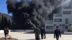 Bodrum'da okulda korkutan patlama