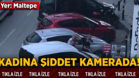 Maltepe'de sokak ortasında kadına şiddet kamerada!
