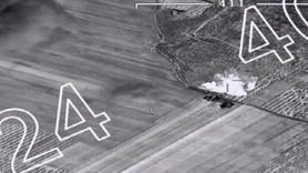 Savaş uçakları PYD'li teröristlerin mühimmat deposunu böyle vurdu
