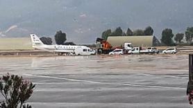 Bodrum'da lastiği patlayan özel uçak pistten çıktı