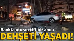 Bağdat Caddesi'nde feci kaza! Bankta oturan çift dehşeti yaşadı