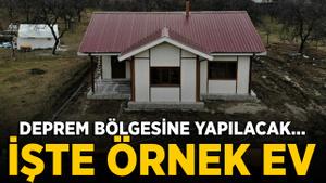 Depremin ana merkezi Çevrimtaş'a ilk 'örnek ev' kuruldu