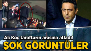 Kadıköy'de olay görüntüler! Ali Koç tribüne girdi arbede çıktı…
