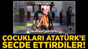 Skandal görüntü! Çocukları Atatürk'e secde ettirdiler! Tepki yağdı...