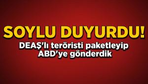 Soylu: Sınır arasında kalan DEAŞ'lı terörist uçakla ABD'ye gönderildi