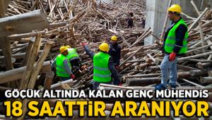 Cami inşaatında göçük altında kalan mühendisi arama çalışması sürüyor