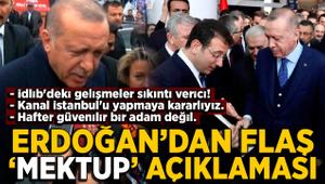 """Cumhurbaşkanı Erdoğan'dan """"İmamoğlu'nun mektubu"""" açıklaması"""
