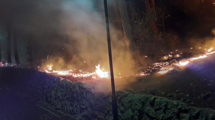 Tarihi Kozan Kalesi eteklerinde yangın