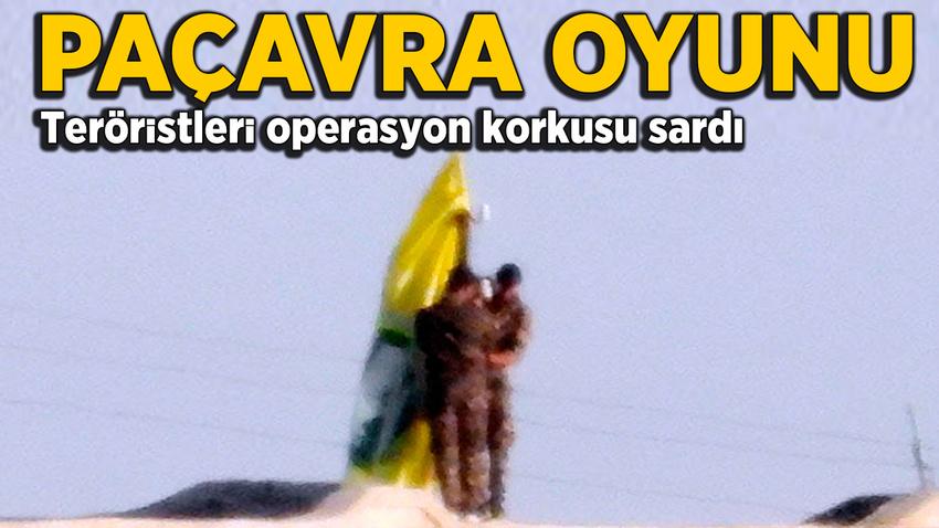 Teröristlerin sınırda bayrak oyunu!