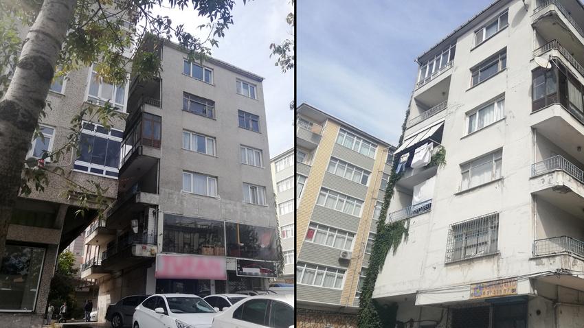 Avcılar'da yan yatan bina mühürlendi