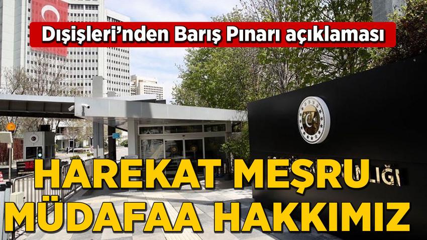 Dışişleri Bakanlığı: Harekat meşru müdafaa hakkımız