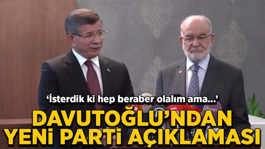 Davutoğlu'ndan yeni parti açıklaması
