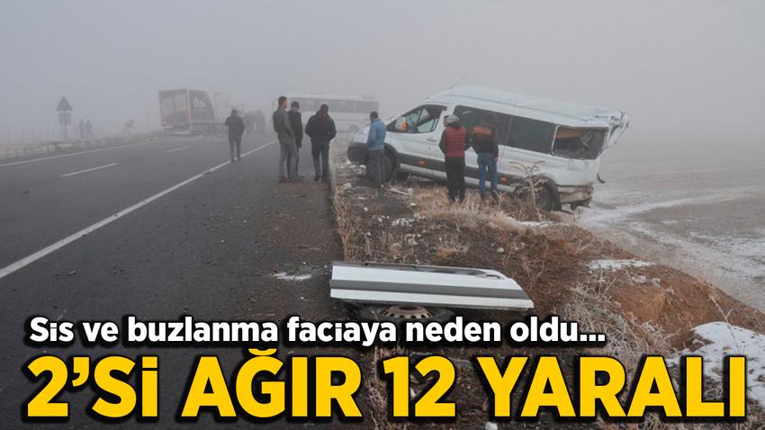 Kars'ta zincirleme kaza: 2'si ağır 12 yaralı