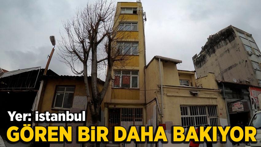 İstanbul'daki 5 katlı bina, görenleri şaşkına çeviriyor