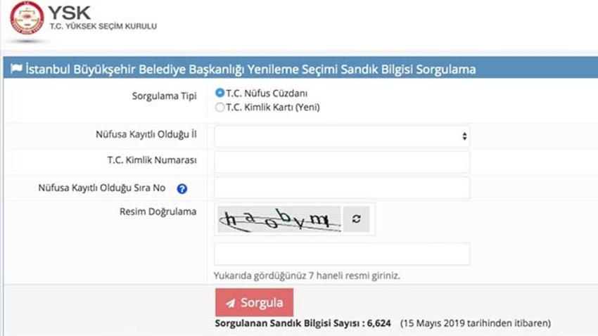 İstanbul yenileme seçimi sorgu ekranı açıldı