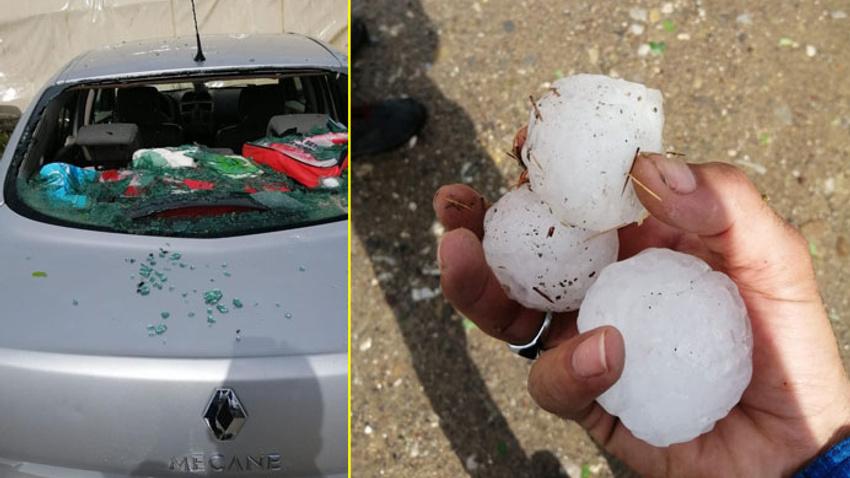 Ceviz büyüklüğünde yağan dolu arabaların camını kırdı