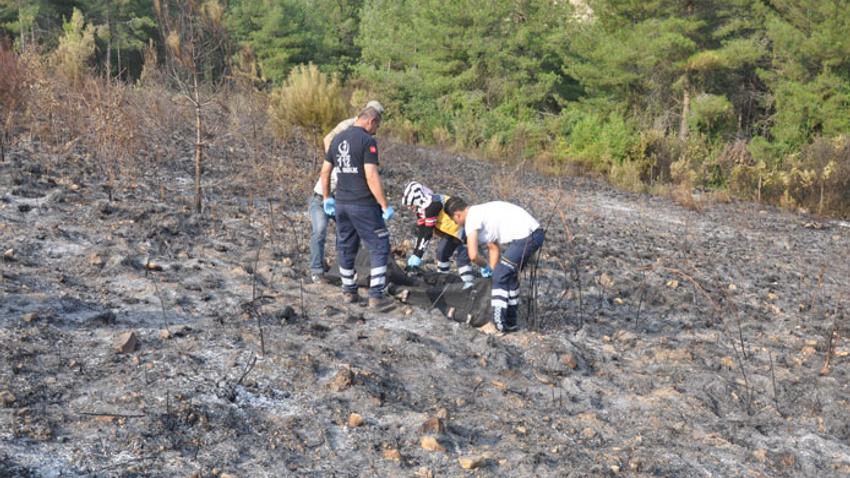 Orman yangınında bir kişi yanarak öldü