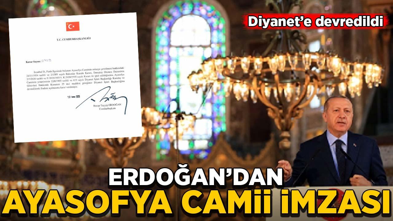 Erdoğan'dan Ayasofya Camii imzası