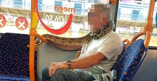 Olayı çok yanlış anlamış! Yaşlı adam otobüste maske yerine yüzüne yılanı dolayıp yolculuk etti - Sayfa 1