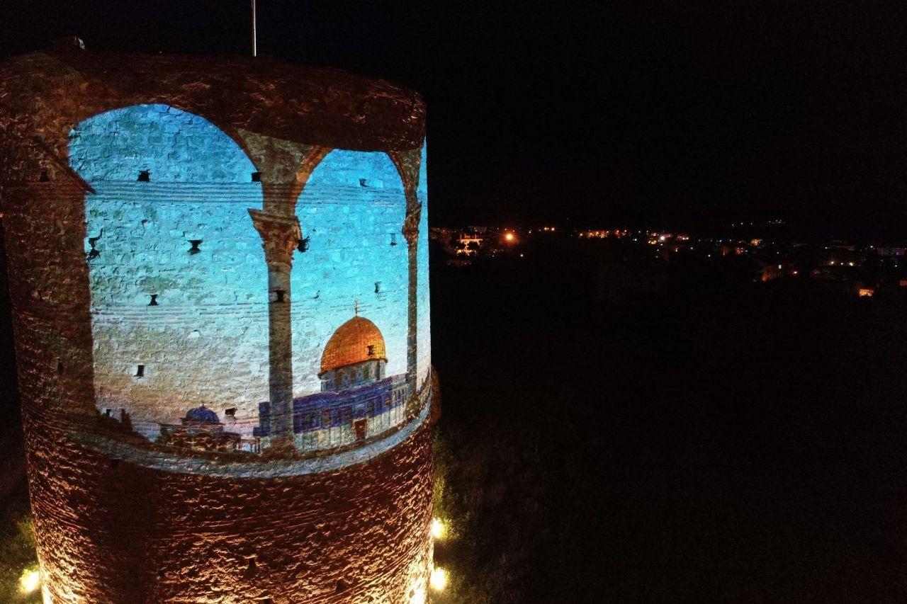Kırklareli'nde Pınarhisar Kalesi Filistin'e destek için ışıklandırıldı - Sayfa 1