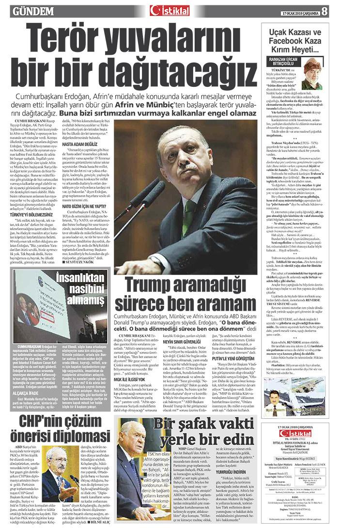 İstiklal Gazetesi 8'nci Sayfa