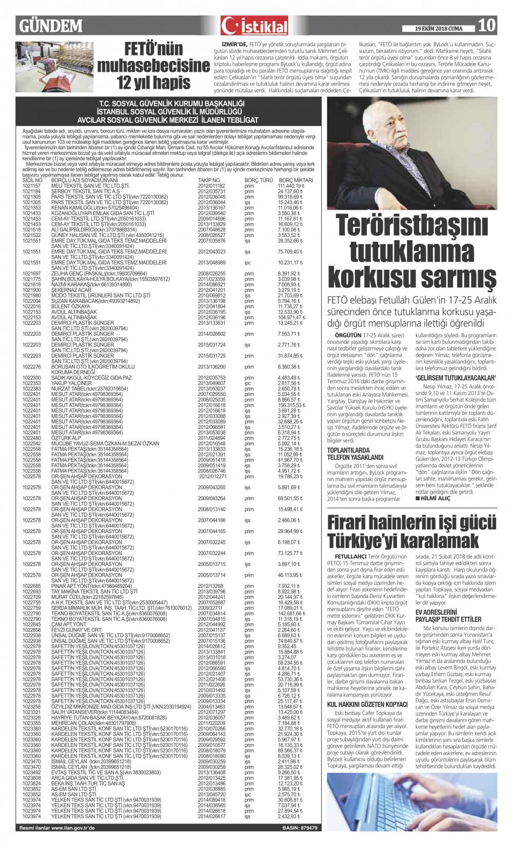 İstiklal Gazetesi 10'nci Sayfa