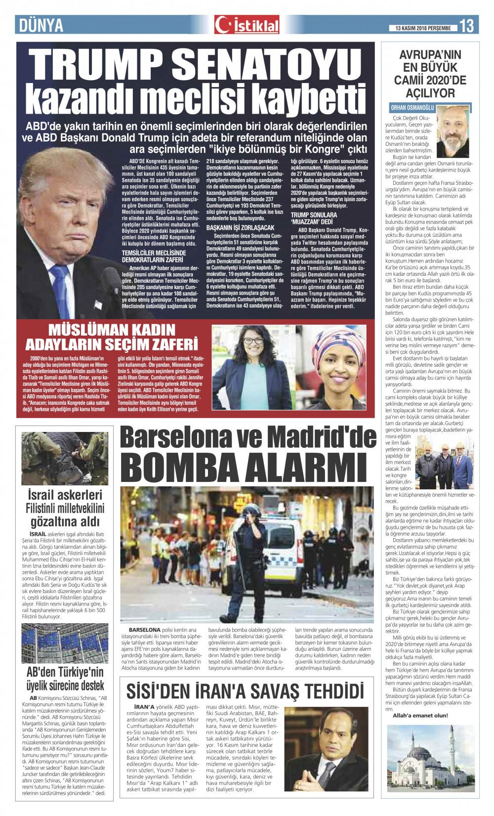 İstiklal Gazetesi 13'nci Sayfa