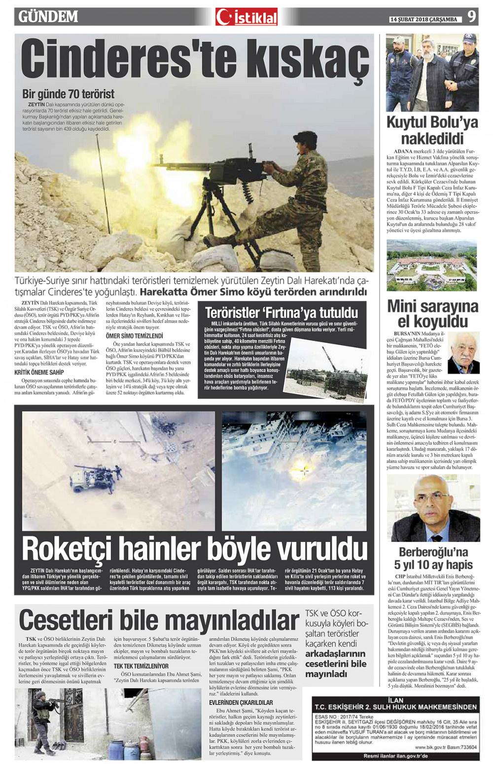 İstiklal Gazetesi 9'nci Sayfa