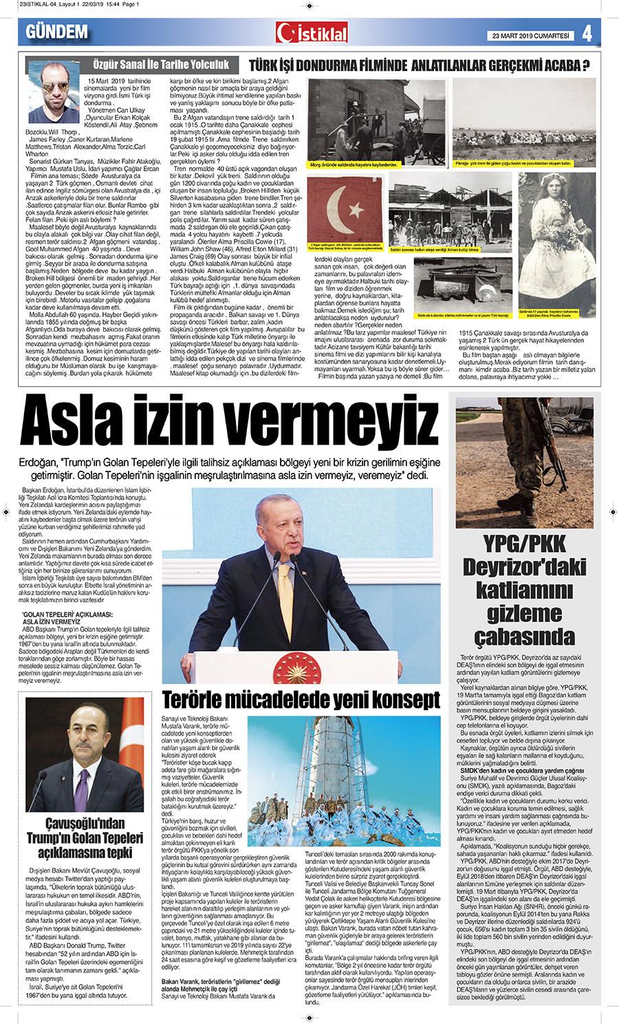 İstiklal Gazetesi 4'nci Sayfa