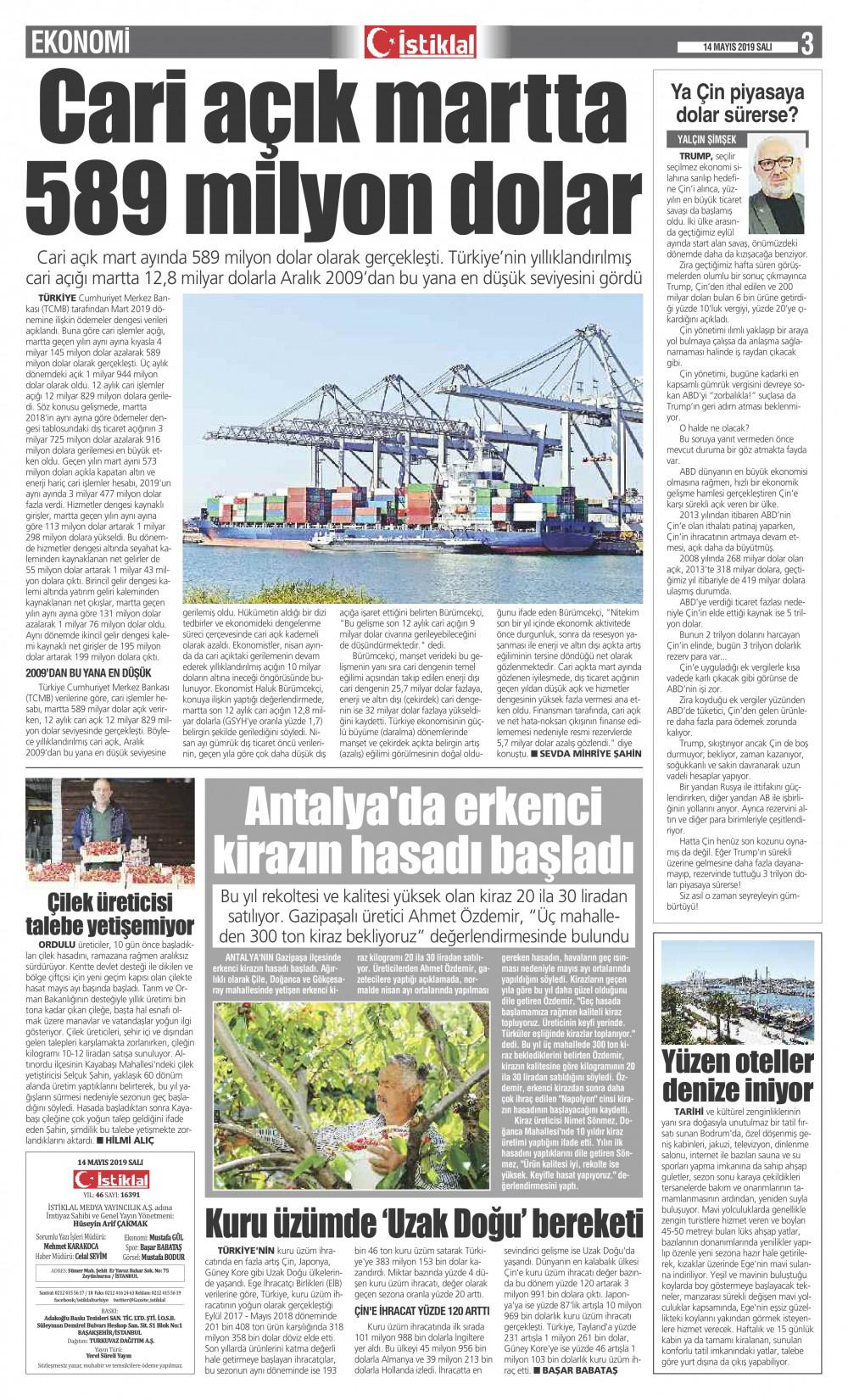 İstiklal Gazetesi 3'nci Sayfa