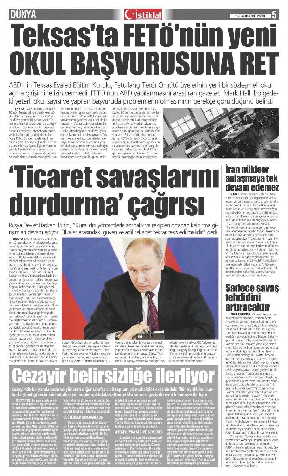 İstiklal Gazetesi 5'nci Sayfa